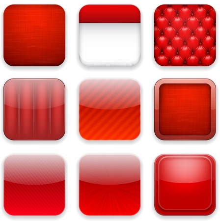 upholstered: Vector illustration of red high-detailed apps icon set. Eps10.