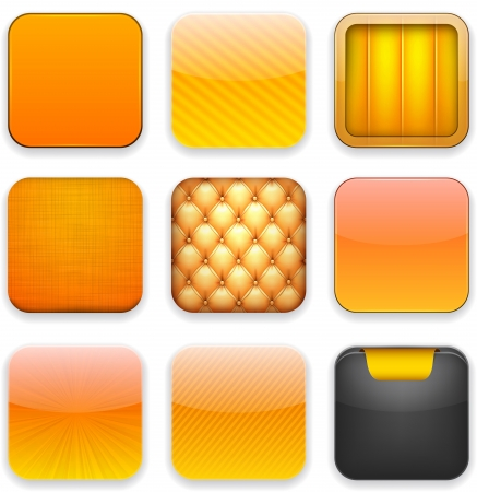 Vector illustration of orange high-detailed apps icon set. Eps10.  Vector