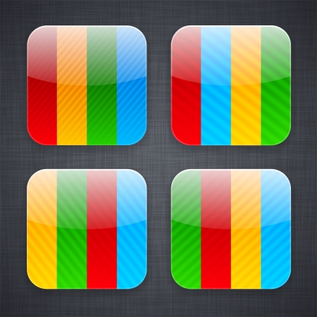 illustration of high-detailed striped apps icon templates.  Vector