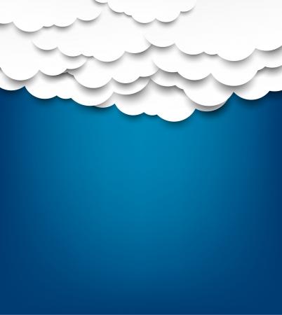 nubes cielo: Vector de fondo abstracto compuesto de nubes blancas sobre papel azul. Eps10.
