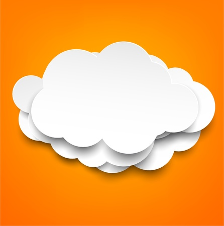 composed: Vector abstract background composed of white paper clouds over orange. Eps10.