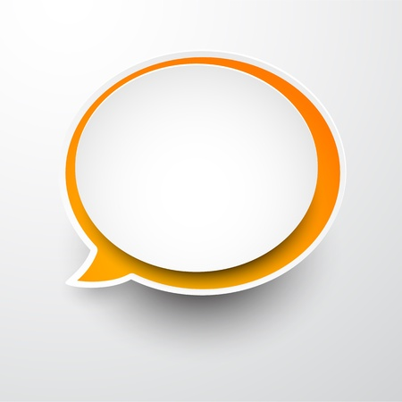 Vector illustration of white and orange paper round speech bubble. Eps10.  Vector