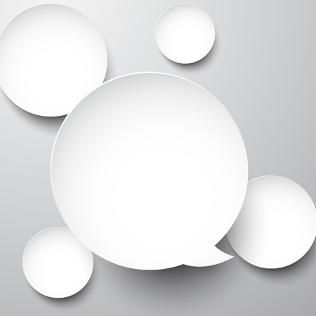 Vector abstract background composed of white paper round speech bubbles. Eps10.   Vector