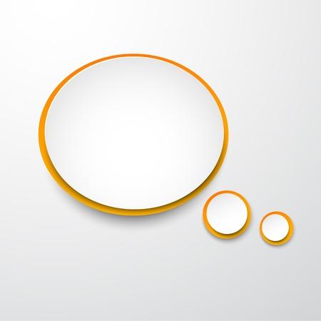 elipse: Ilustración vectorial de globo de diálogo papel blanco y naranja ronda Vectores