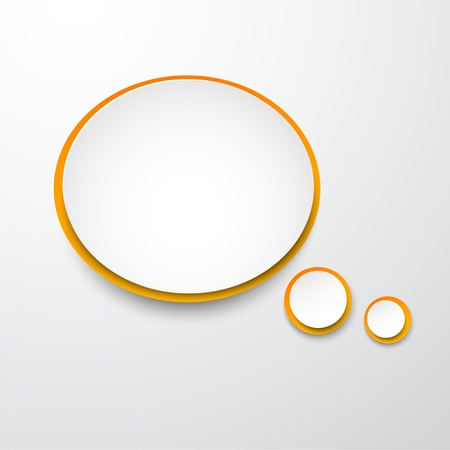 Vector illustration of white and orange paper round speech bubble