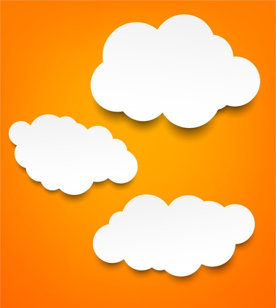 Vector abstract background composed of white paper clouds over orange Stock Vector - 17602319