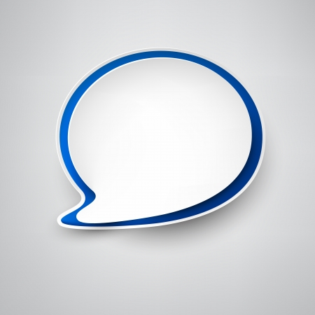 speech bubble vector: Vector illustration of white and blue paper rounded speech bubble   Illustration