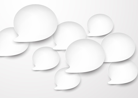 Vector abstract background composed of white paper round speech bubbles Stock Vector - 17602318
