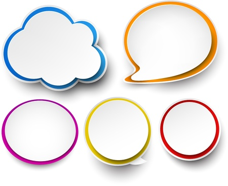 Vector illustration of paper clouds and speech bubbles   Vector