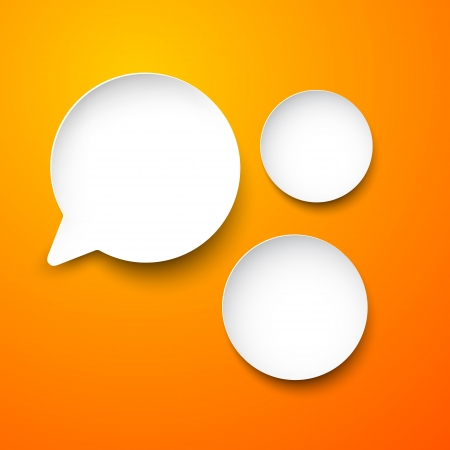 Vector abstract illustration of white paper round speech bubbles on orange background   Vector