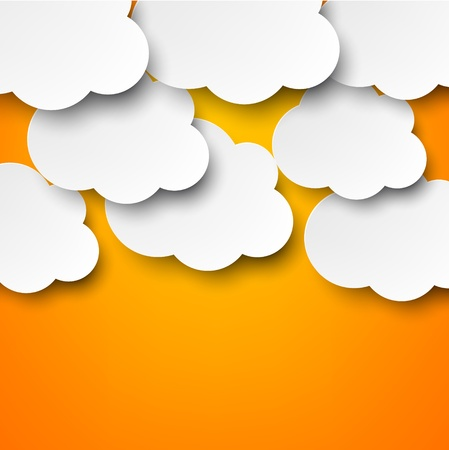 Vector abstract background composed of white paper clouds over orange Stock Vector - 17602338