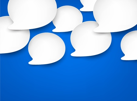 Vector abstract illustration of white paper speech bubbles on blue background   Vector
