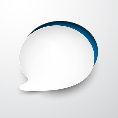 paper cut out: Vector illustration of white paper notched out round speech bubble