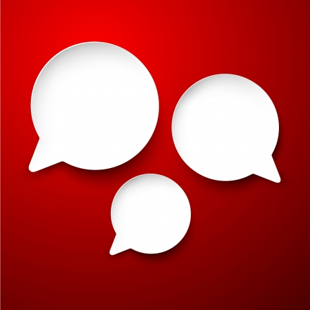 Vector abstract illustration of white paper round speech bubbles on red background  Vector