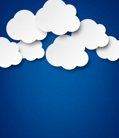Vector abstract background composed of white paper clouds over blue Stock Vector - 17602351