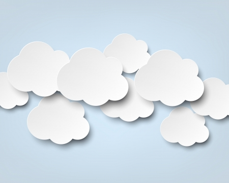 speech cloud: Vector abstract background composed of white paper clouds over blue