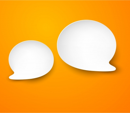 Vector abstract illustration of white paper speech bubbles on orange background  Vector