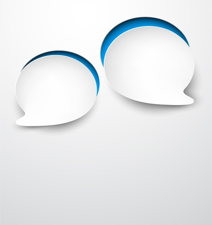 Vector abstract illustration of white paper round speech bubbles on grey background   Vector