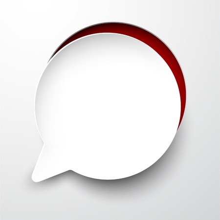 cut outs: Vector illustration of white paper notched out round speech bubble