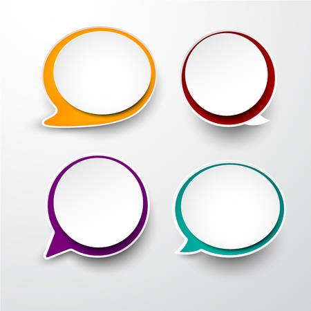 illustration of paper round speech bubbles.  Vector