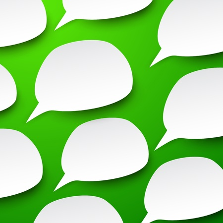 abstract illustration of white paper speech bubbles on green background.  Stock Vector - 17712117