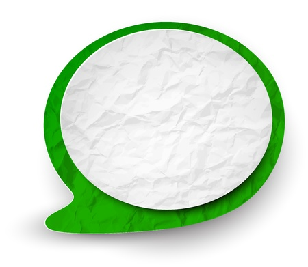 illustration of white and green wrinkled paper speech bubble.  Vector