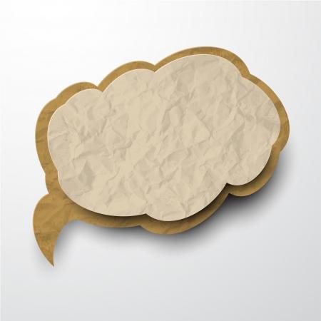 illustratie van de oude gekreukt papier wolk.