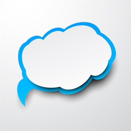 message bubble: illustration of white and blue paper cloud.  Illustration