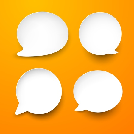 shadow speech: abstract illustration of white paper rounded speech bubbles on orange background.