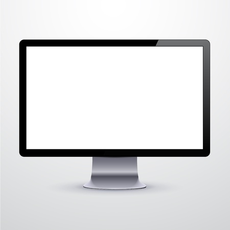 illustration of high-detailed modern PC monitor.  Vector