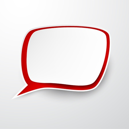 speech bubble vector: Vector illustration of white and red paper speech bubble.