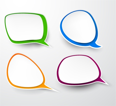 shadow speech: Vector illustration of paper rounded speech bubbles.  Illustration