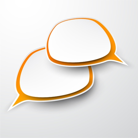 couple talking: Vector abstract illustration of paper speech bubbles on grey background.  Illustration