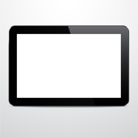 Vector illustration of horizontal black modern realistic tablet pad with empty white screen.  Stock Vector - 17872614