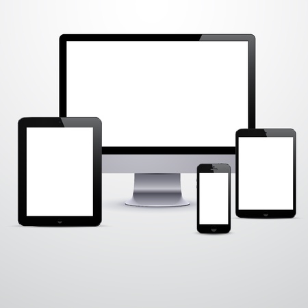 Vector illustration of set of modern electronic devices with blank white screens.  Vector