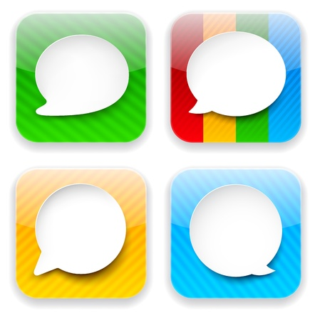 Vector illustration of high-detailed speech bubble apps icon templates. Talk concept.  Illustration