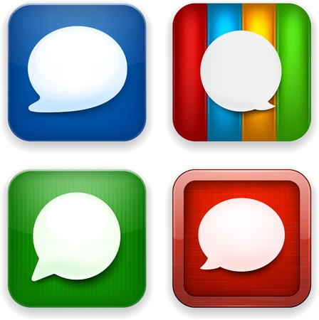 Vector illustration of high-detailed speech bubble apps icon templates. Talk concept. Stock Vector - 17872609