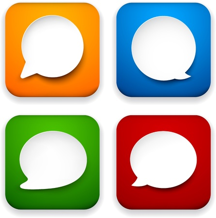 Vector illustration of high-detailed speech bubble apps icon templates. Talk concept. Stock Vector - 17872607