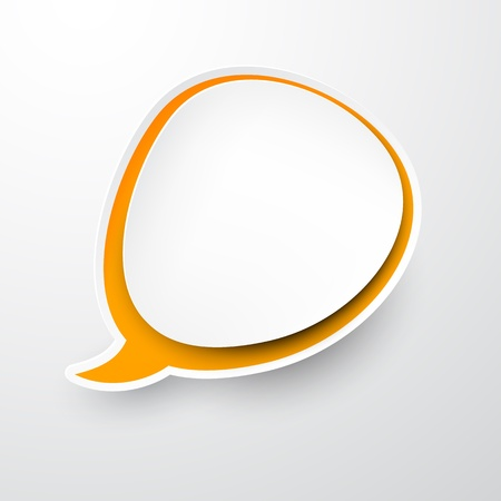 Vector illustration of white and orange paper round speech bubble. Stock Vector - 17924768