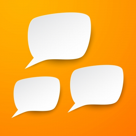 shadow speech: Vector abstract illustration of white paper speech bubbles on orange background.