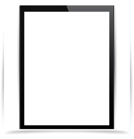 Vector illustration of vertical black modern realistic tablet pad with empty white screen. Stock Vector - 17924740