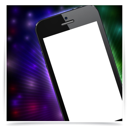 Vector illustration of abstract backgrounds with modern realistic smartphone with empty white screen.  Stock Vector - 17924810