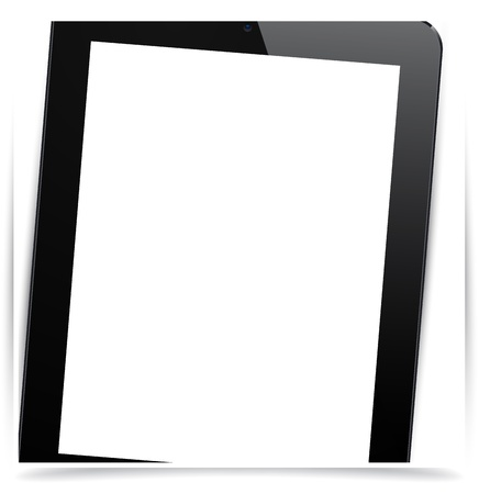 Vector illustration of black modern realistic tablet pad with empty white screen. Stock Vector - 17924754