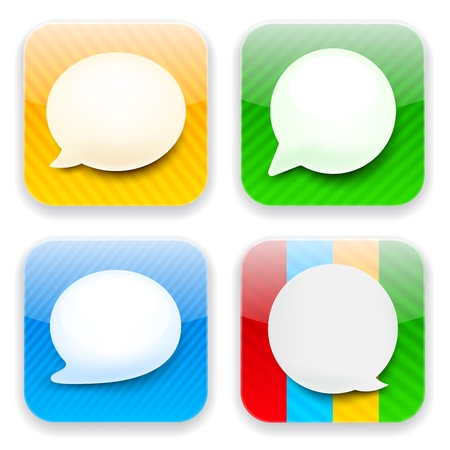 Vector illustration of high-detailed speech bubble apps icon templates. Talk concept.  Vector