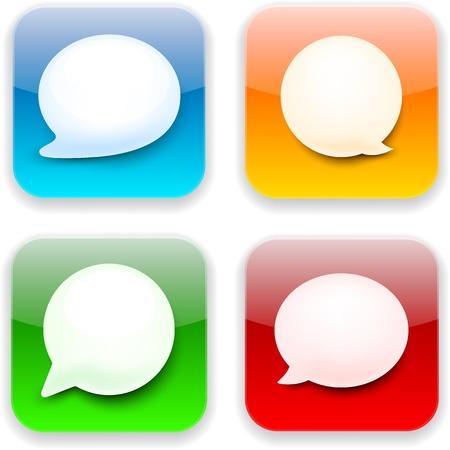 Vector illustration of high-detailed speech bubble apps icon templates. Talk concept. Stock Vector - 17924784