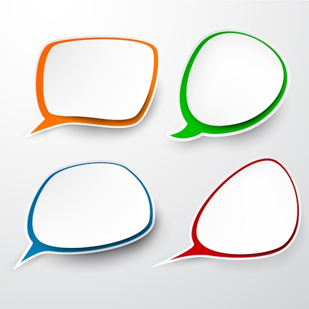 circle shape: illustration of paper rounded speech bubbles Illustration