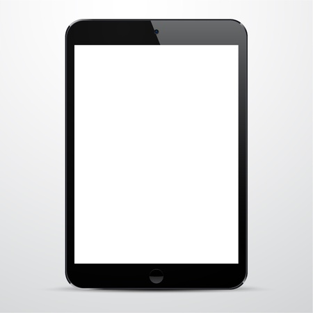 illustration of black modern realistic tablet pad with empty white screen   Vector