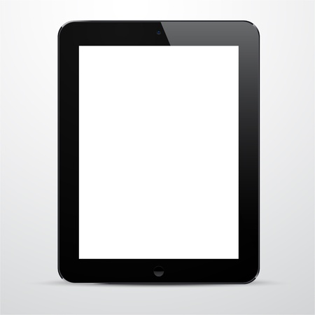 illustration of black modern realistic tablet pad with empty white screen   Stock Vector - 18119188