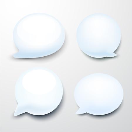 talk balloon: Vector set of glossy speech bubbles