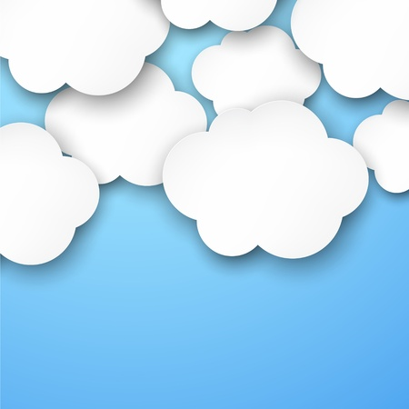 Vector abstract background composed of white paper clouds over blue  Vector
